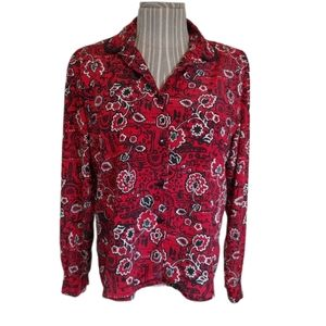 💗D'Allaird's Vintage Blouse with Shoulder Pads, L